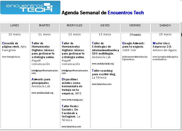 Agenda Encuentros tech marzo
